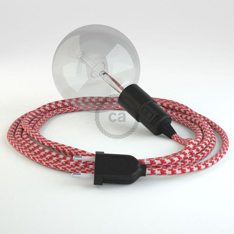 "Viseča luč ""Kača"" iz okroglega kabla RP09, vzorčast rdeč."