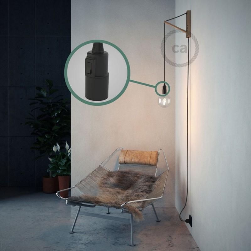 """Viseča luč """"Kača"""" iz okroglega kabla RS81, Onyx tvid: lan, gliter in črni bombaž."""