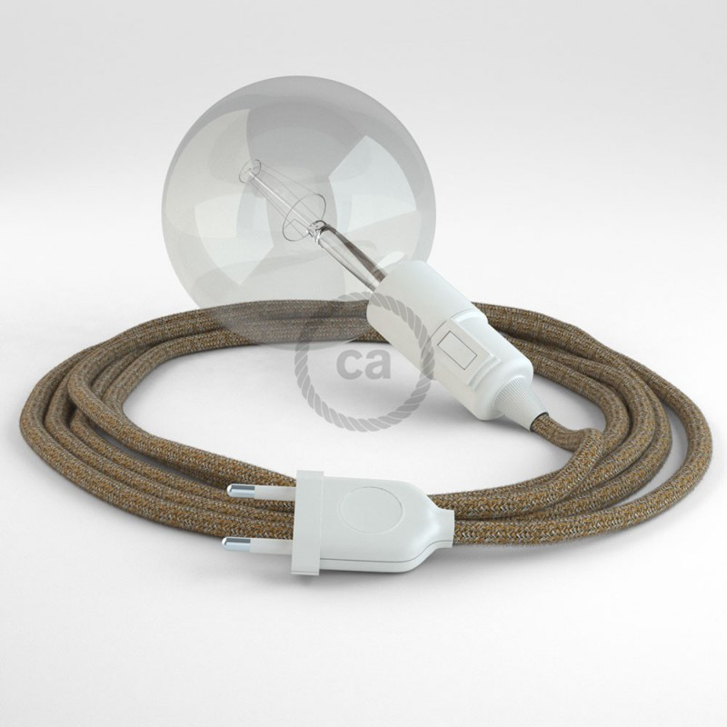 """Viseča luč """"Kača"""" iz okroglega kabla RS82, rusast tvid: lan, gliter in rjavi bombaž."""