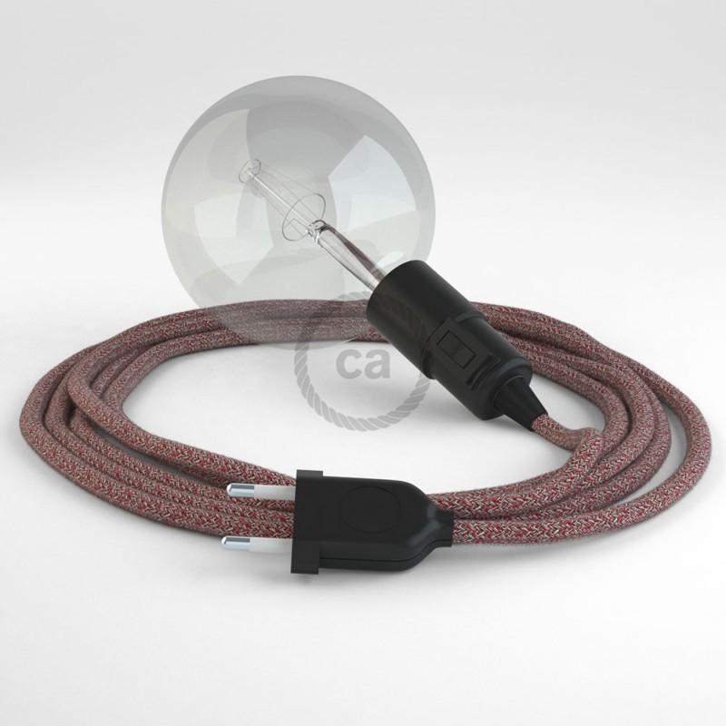 """Viseča luč """"Kača"""" iz okroglega kabla RS83, bordo tvid: lan, gliter in bordo bombaž."""
