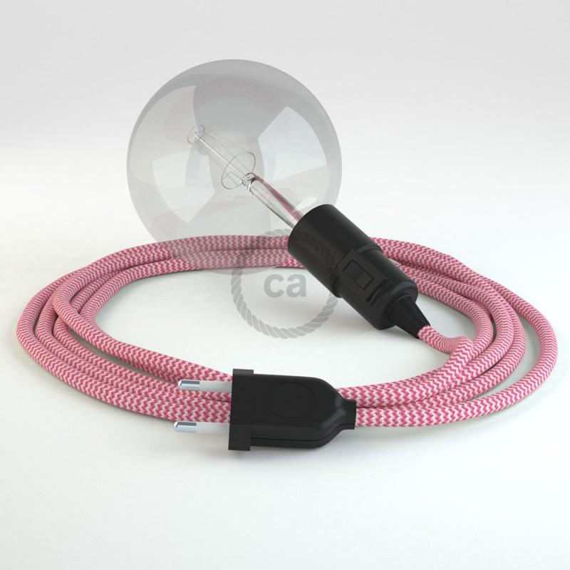 "Viseča luč ""Kača"" iz okroglega kabla RZ08, zigzag fuksija."
