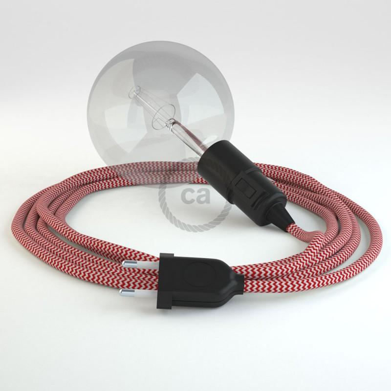 """Viseča luč """"Kača"""" iz okroglega kabla RZ09, zigzag rdeč."""