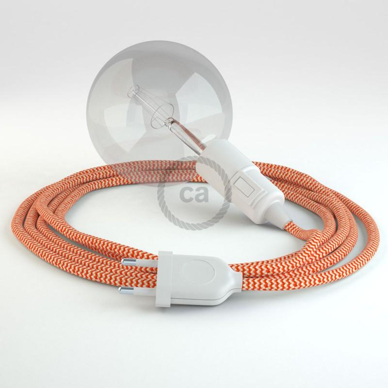 """Viseča luč """"Kača"""" iz okroglega kabla RZ15, zigzag oranžen."""