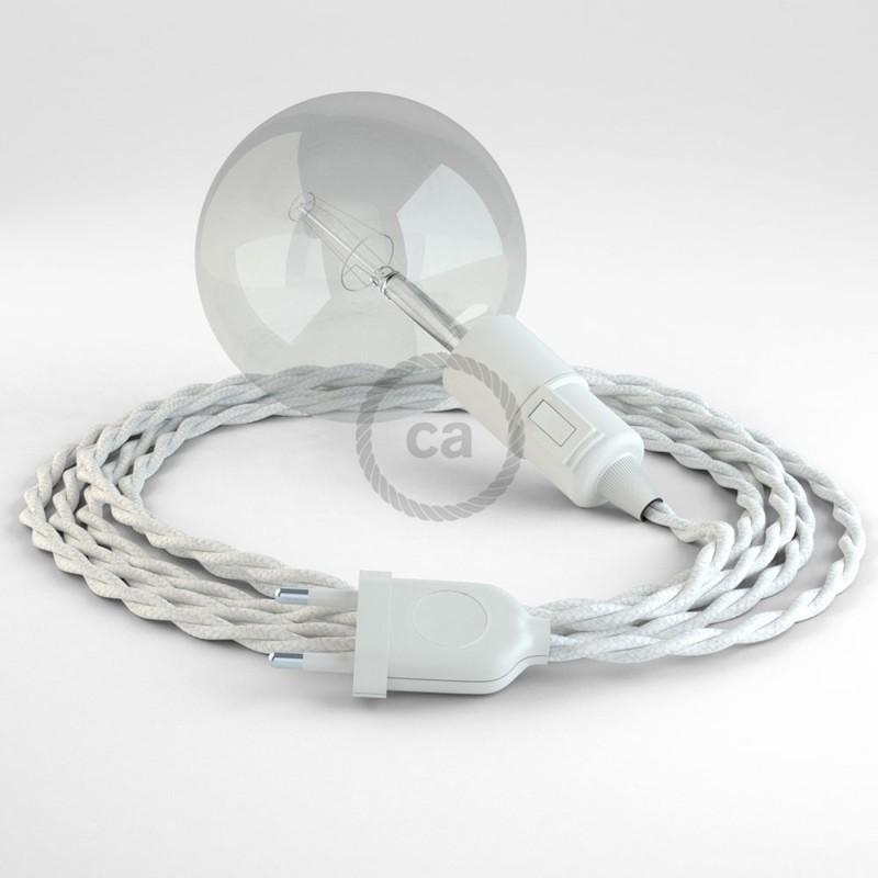 """Viseča luč """"Kača"""" iz zavitega kabla TC01, bel bombaž."""