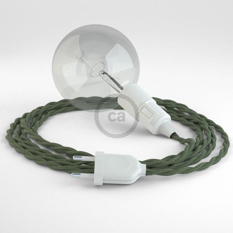 "Viseča luč ""Kača"" iz zavitega kabla TC63, sivo-zelen bombaž."