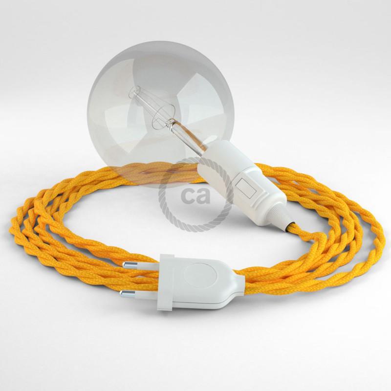 """Viseča luč """"Kača"""" iz zavitega kabla TM10, rumen."""