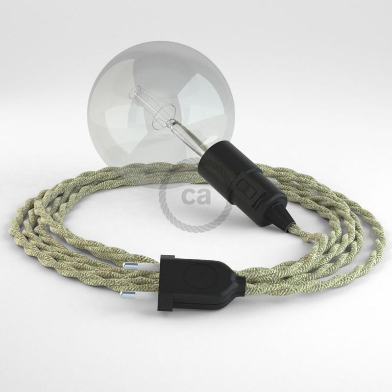 """Viseča luč """"Kača"""" iz zavitega kabla TN01, naraven lan."""