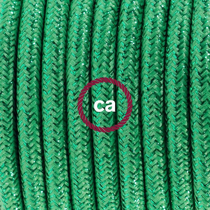 """Viseča luč """"Kača"""" iz okroglega kabla RL06, lesketajoč zelen."""