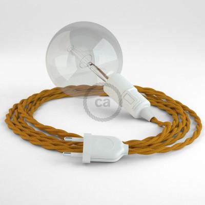 """Viseča luč """"Kača"""" iz zavitega kabla TZ25, gorčično rumen."""