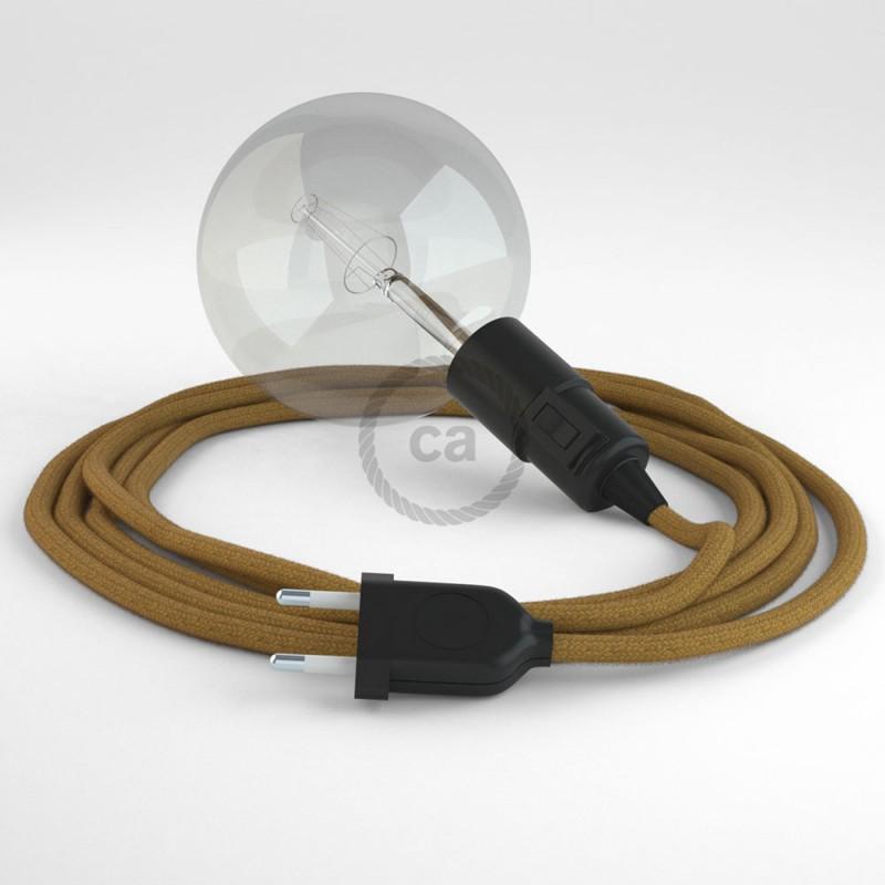 "Viseča luč ""Kača"" iz okroglega kabla RC31, medeno-zlat bombaž."