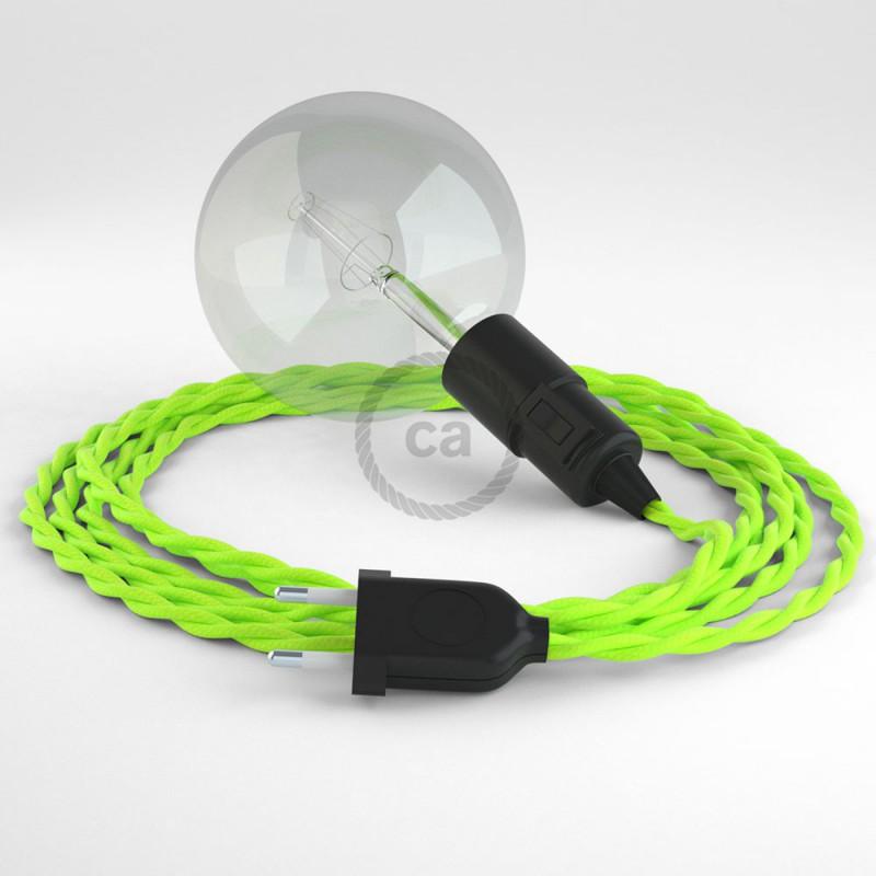 """Viseča luč """"Kača"""" iz zavitega kabla TF10, fluo rumen."""
