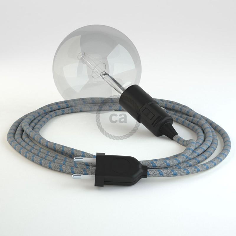 """Viseča luč """"Kača"""" iz okroglega kabla RD55, Črte, lan in nebesno moder bombaž."""