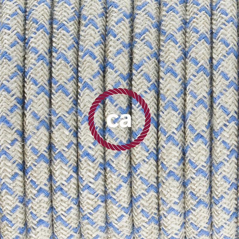 """Viseča luč """"Kača"""" iz okroglega kabla RD65, Romb, lan in nebesno moder bombaž."""