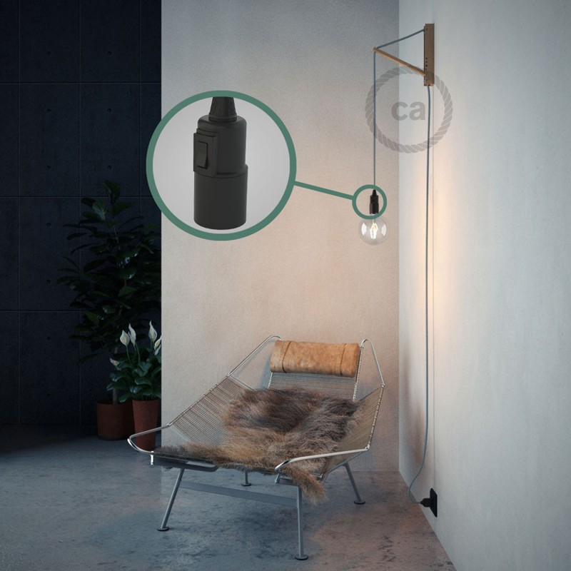 "Viseča luč ""Kača"" iz okroglega kabla RD75, Zigzag, lan in nebesno moder bombaž."