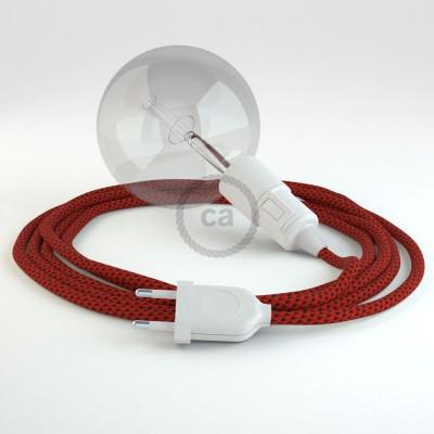 """Viseča luč """"Kača"""" iz okroglega kabla RT94, rdeči vrag."""