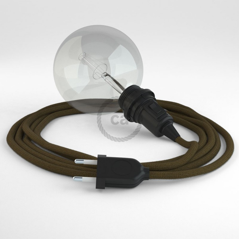 "Viseča luč ""Kača"" za senčilo iz okroglega kabla RC13, rjav bombaž."