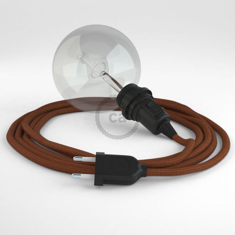 "Viseča luč ""Kača"" za senčilo iz okroglega kabla RC23, jelenje rjav bombaž."