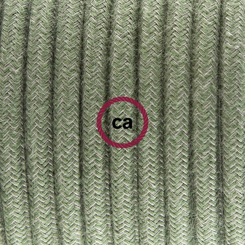 """Viseča luč """"Kača"""" za senčilo iz okroglega kabla RC63, sivo-zeleni bombaž."""