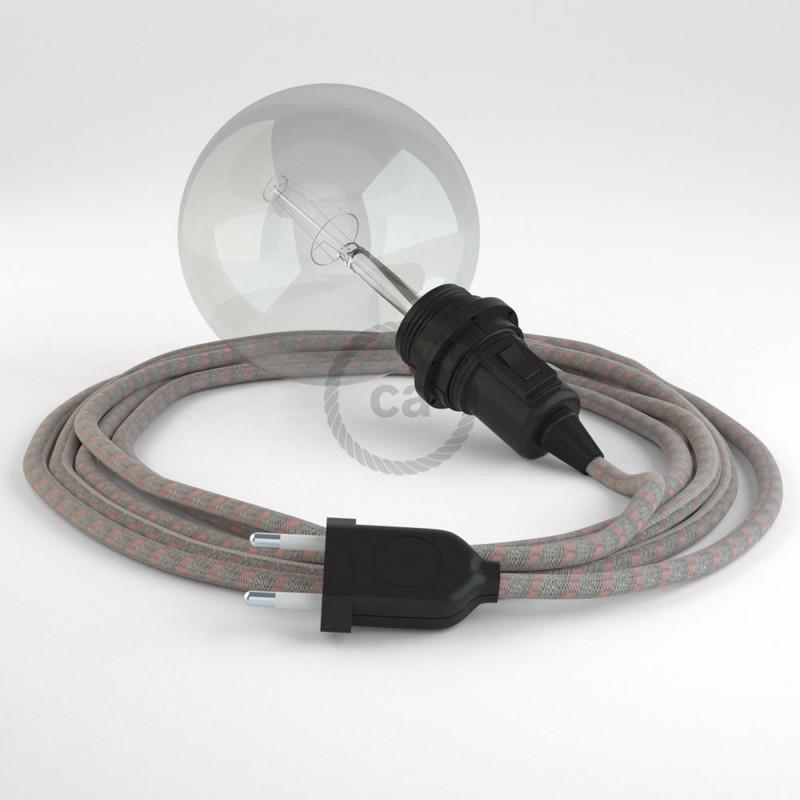 """Viseča luč """"Kača"""" za senčilo iz okroglega kabla RD51, Črte, lan in rožnati bombaž."""