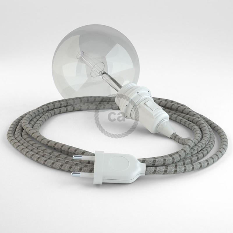 """Viseča luč """"Kača"""" za senčilo iz okroglega kabla RD53, Črte, lan in rjav bombaž."""