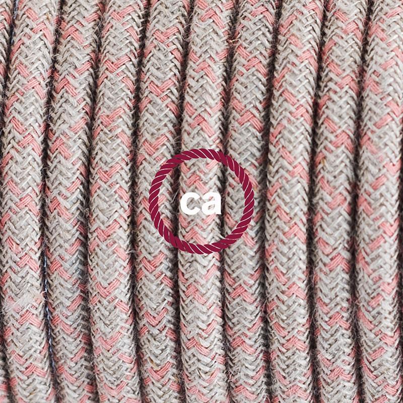 """Viseča luč """"Kača"""" za senčilo iz okroglega kabla RD61, Romb, lan in rožnati bombaž."""