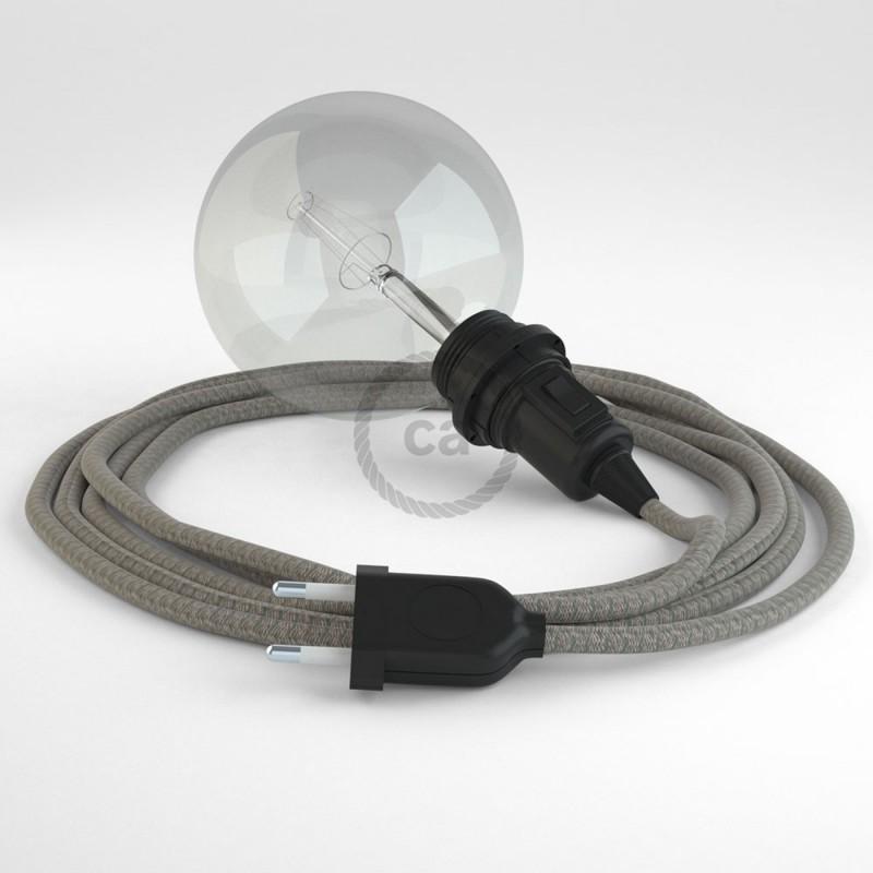"""Viseča luč """"Kača"""" za senčilo iz okroglega kabla RD62, Romb, lan in timijan-zeleni bombaž."""