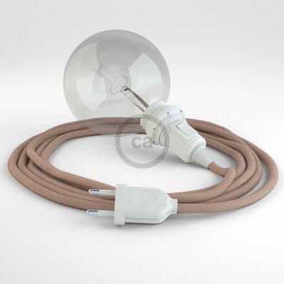 """Viseča luč """"Kača"""" za senčilo iz okroglega kabla RD71, Zigzag, lan in rožnati bombaž."""