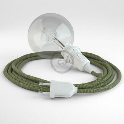 """Viseča luč """"Kača"""" za senčilo iz okroglega kabla RD72, Zigzag, lan in timijan-zeleni bombaž."""