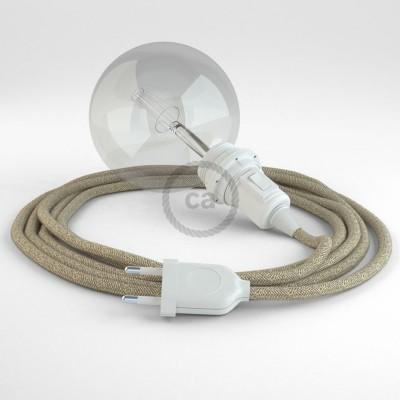 "Viseča luč ""Kača"" za senčilo iz okroglega kabla RN01, naravni lan."