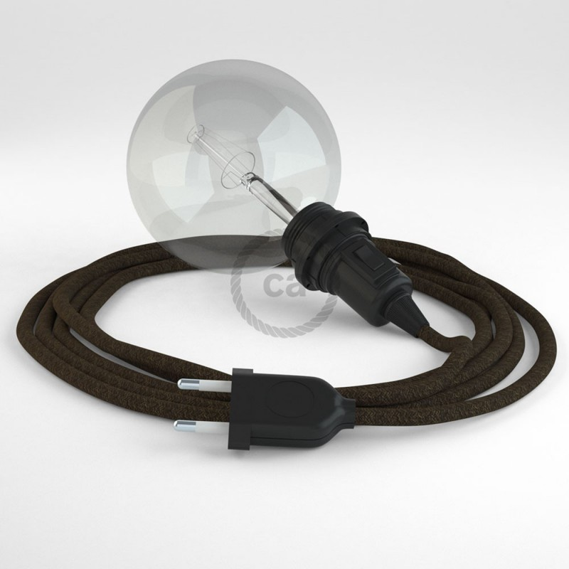 """Viseča luč """"Kača"""" za senčilo iz okroglega kabla RN04, rjav lan."""