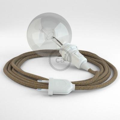 """Viseča luč """"Kača"""" za senčilo iz okroglega kabla RS82, rusast tvid: lan, gliter in rjavi bombaž."""