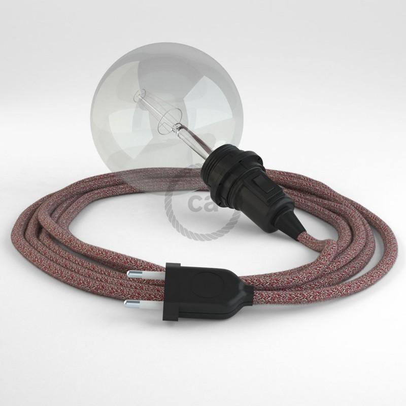 """Viseča luč """"Kača"""" za senčilo iz okroglega kabla RS83, bordo tvid: lan, gliter in bordo bombaž."""
