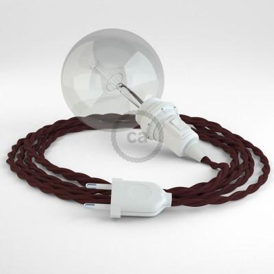 """Viseča luč """"Kača"""" za senčilo iz zavitega kabla TM19, bordo."""