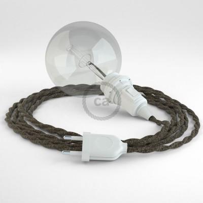 """Viseča luč """"Kača"""" za senčilo iz zavitega kabla TN04, rjav lan."""
