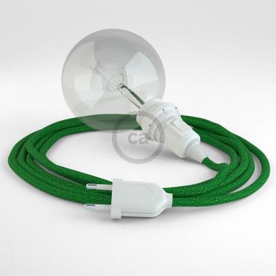 """Viseča luč """"Kača"""" za senčilo iz okroglega kabla RL06, lesketajoč zelen."""