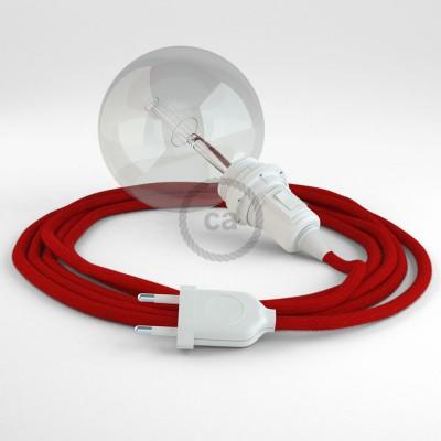 """Viseča luč """"Kača"""" za senčilo iz okroglega kabla RC35, ognjeno rdeč bombaž."""