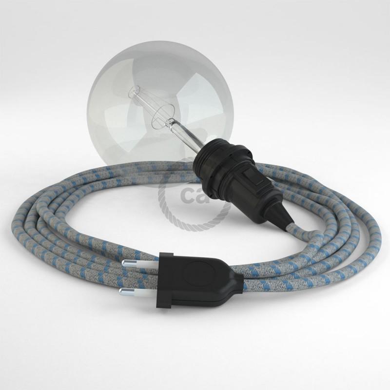 """Viseča luč """"Kača"""" za senčilo iz okroglega kabla RD55, Črte, lan in nebesno moder bombaž."""