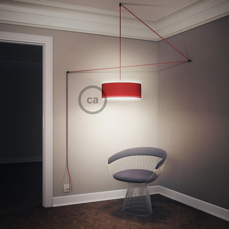 "Viseča luč ""Kača"" za senčilo iz okroglega kabla RD75, Zigzag, lan in nebesno moder bombaž."