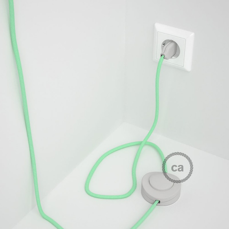 Komplet s talnim stikalom, RC34 svetlo mint bombaž 3 m. Izberite barvo vtikača in stikala.