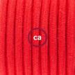 Komplet s talnim stikalom, RC35 ognjeno rdeč bombaž 3 m. Izberite barvo vtikača in stikala.