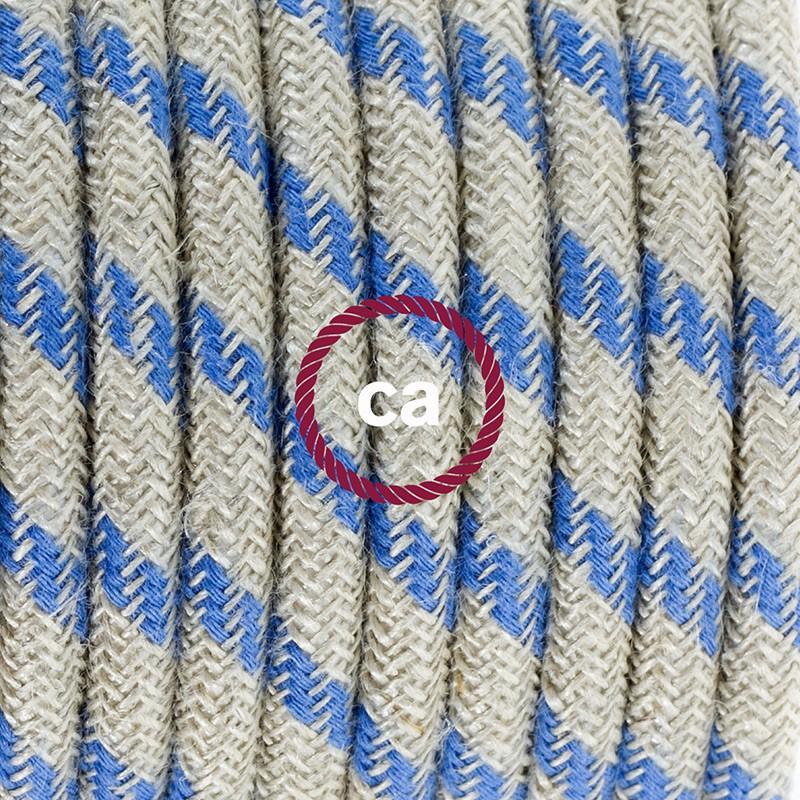 Komplet s talnim stikalom, RD55 črte, nebesno moder naravni lan in bombaž 3 m. Izberite barvo vtikača in stikala.