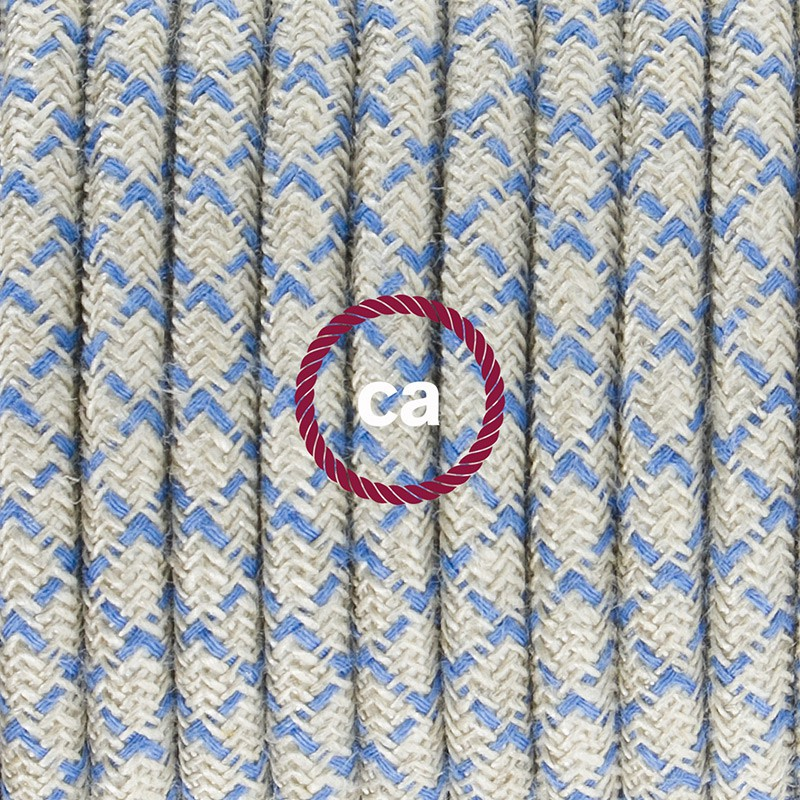 Komplet s talnim stikalom, RD65 romb, nebesno moder naravni lan in bombaž 3 m. Izberite barvo vtikača in stikala.