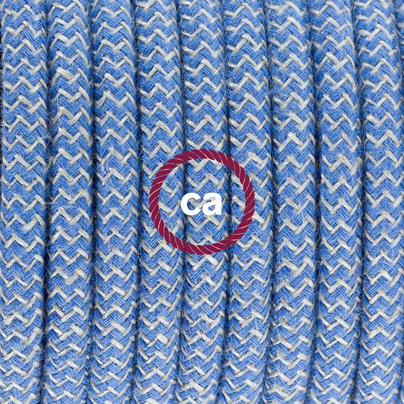 Komplet s talnim stikalom, RD75 zigzag, nebesno moder naravni lan in bombaž 3 m. Izberite barvo vtikača in stikala.