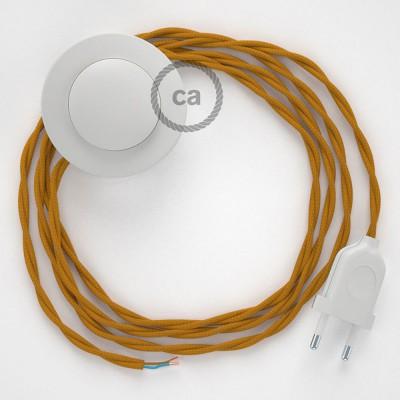 Komplet s talnim stikalom, TM25 gorčično rumen rejon 3 m. Izberite barvo vtikača in stikala.