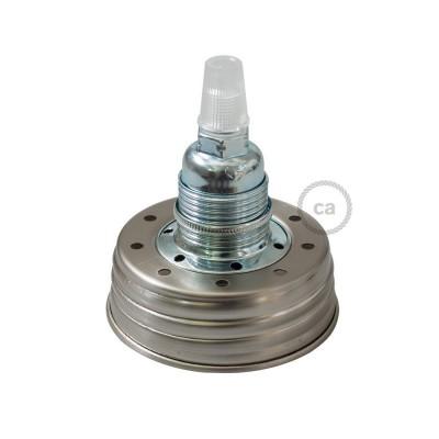 Pocinkani Mason Jar komplet za visečo svetilko s stožčastim podaljškom in E14 kromiranim kovinskim grlom žarnice