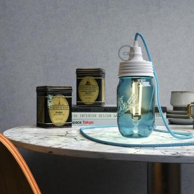 Bel Mason Jar komplet za visečo svetilko s stožčastim podaljškom in E14 belim bakelitnim grlom žarnice