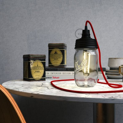 Črn Mason Jar komplet za visečo svetilko s stožčastim podaljškom in E14 črnim bakelitnim grlom žarnice