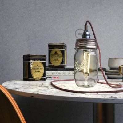 Pocinkani Mason Jar komplet za visečo svetilko s cilindričnim podaljškom in E14 kromiranim kovinskim grlom žarnice