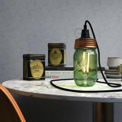 Bronast Mason Jar komplet za visečo svetilko s cilindričnim podaljškom in E14 grlom žarnice iz črnega bakelita