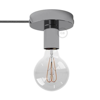 Spostaluce, kromirana kovinska svetilka s tekstilnim kablom in stranskima izhodoma zanje